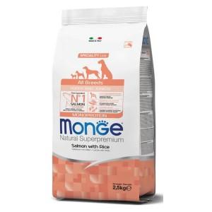 Monge Natural Superpremium All Breeds Puppy, somon si orez, 2.5 kg