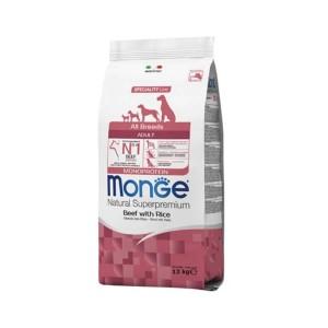 Monge Natural Superpremium All Breeds Adult Monoprotein, vita si orez, 12 kg