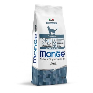 Monge Natural Monoprotein, Pisici Sterilizate, pastrav, 10 kg