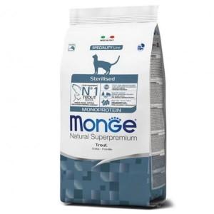 Monge Natural Monoprotein, Pisici Sterilizate, pastrav, 1.5 kg