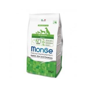 Monge Natural Superpremium All Breeds Adult, iepure si orez, 2.5 kg
