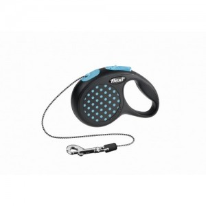 Lesa caini cu snur, Flexi Design Dots XS, albastra, 3 m