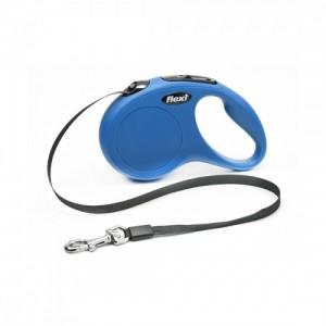Lesa retractabila cu banda, Flexi New Classic, S 5 m albastra