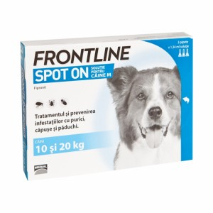 Frontline Spot On Caine M (10-20 kg) - 3 Pipete Antiparazitare