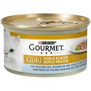 Gourmet Gold Double Pleasure Peste, Oceanic si Spanac, 85 g