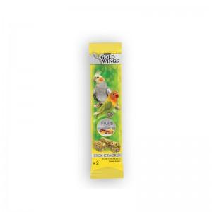 Baton cu fructe pentru nimfe si agapornis, Gold Wings Classic Parakeet Fruit Duo Stick, 2x40 g