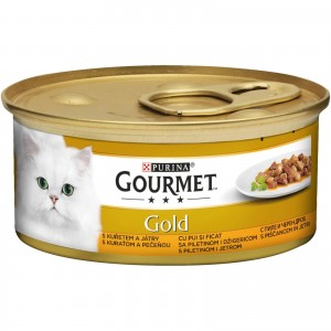 Gourmet Gold Bucatele de Carne in Sos, Pui si Ficat, 85 g