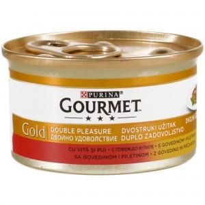 Gourmet Gold Double Pleasure, Vita si Pui, 85 g