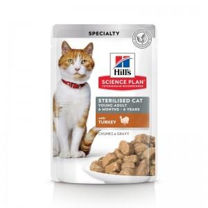 Hill's SP Sterilised Cat Young Adult hrana pentru pisici cu curcan 85 g (plic)