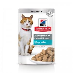 Hill's SP Sterilised Cat Young Adult hrana pentru pisici cu pastrav 85 g (plic)