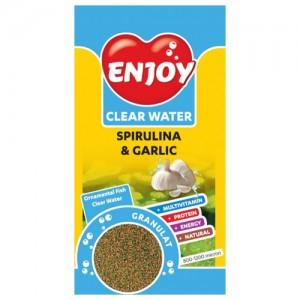 Hrana granule pesti, Enjoy, cu spirulina si usturoi, 250 ml