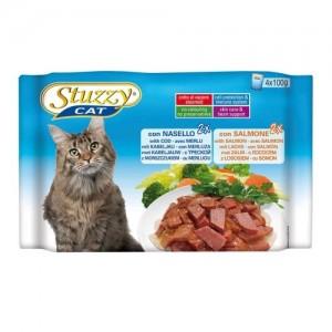 Hrana umeda pisici, Stuzzy cod si somon, 4 x 100 g