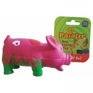 Jucarie Paiatze Dog Porcusor Latex, roz, 14 cm
