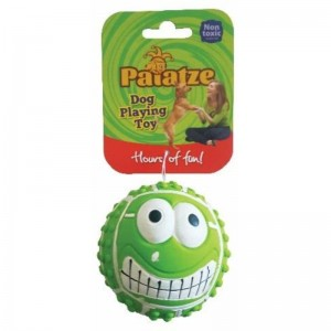 Jucarie Paiatze Dog Smile Face Latex, verde, 7 cm