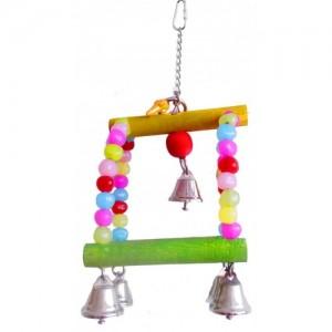 Jucarie din lemn pentru pasari medii, Margele Color, 27 cm