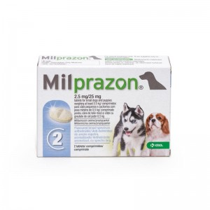 Milprazon Dog 2.5  25 mg ( 5 kg), 2 tablete