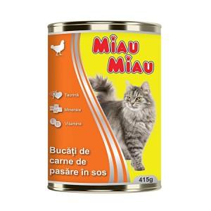 Mancare umeda pisici, Miau Miau, Pui, 415g