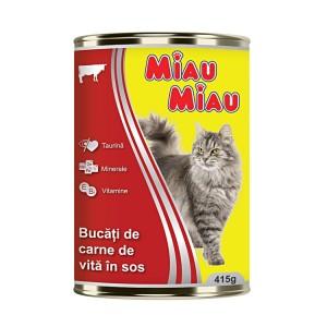 Mancare umeda pisici, Miau Miau, Vita, 415g