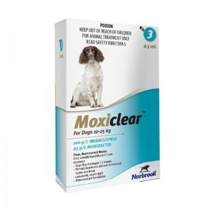 Moxiclear Dog L 2.5 ml (10-25 KG) x 3 pipete (albastru)