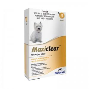 Moxiclear Dog M 1 ml (4-10 KG) x 3 pipete (galben)