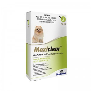 Moxiclear Dog S 0.4 ml (0-4 KG) x 3 pipete (verde)