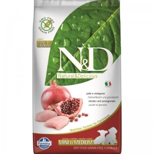 N&D Dog Grain free Chicken and Pomegranate Mini and Medium Puppy, 2.5 kg