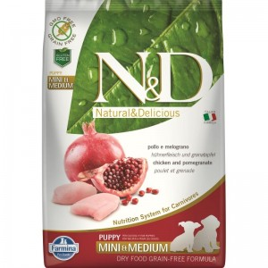 N&D Dog Grain free Chicken and Pomegranate Mini and Medium Puppy, 7 kg