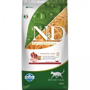 N&D Low Grain Cat Chicken and Pomegranate Neutered, 10 kg