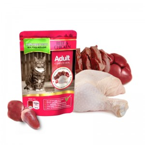 Mancare umeda pentru pisici adulte, NATURES MENU CAT BEEF & CHICKEN, 100 g