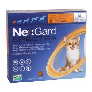 Nexgard Spectra XS (2 - 3.5 kg), 3 comprimate