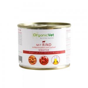 OrganicVet Feline Sensitive, vita, paste si ulei de somon, 200 g