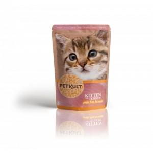 Hrana umeda pisici junioare, Petkult, Curcan, 100 g