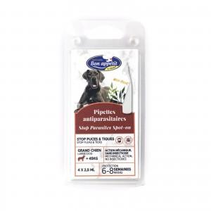Pipeta antiparazitara caini talie mare, Bon Appetit, >45 kg 4 x 2.5 ml