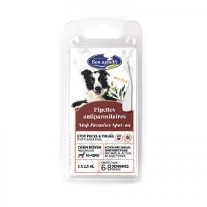 Pipeta antiparazitara caini talie medie, Bon Appetit, 10-45 kg 2 x 2.5 ml