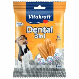 Recompensa pentru caini, Vitakraft Dental Snack 3in1 Small, 120 g