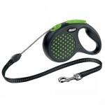 Lesa caini cu snur, Flexi Design Dots, verde, 5 m