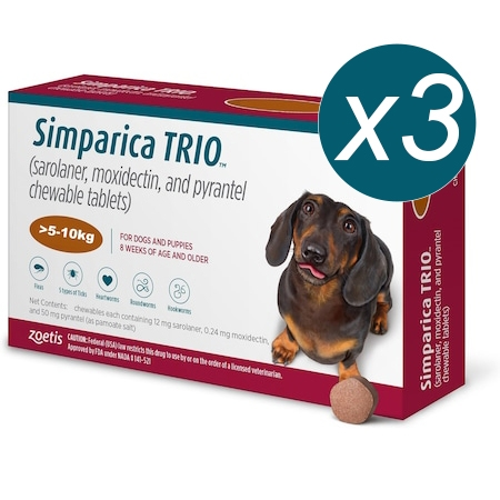 Simparica Trio Caini (5.1 - 10 kg), 3 x comprimate masticabile imagine