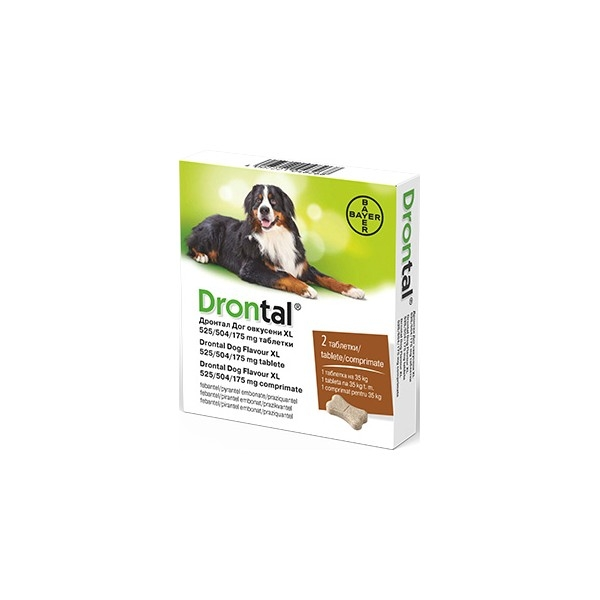 Drontal Dog Flavour XL 525/504/175 MG, pentru caini, cutie x 2 comprimate imagine