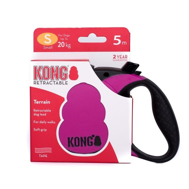 Lesa retractabila, KONG Retractable Terrain, 5m - 20kg, Fucsia imagine