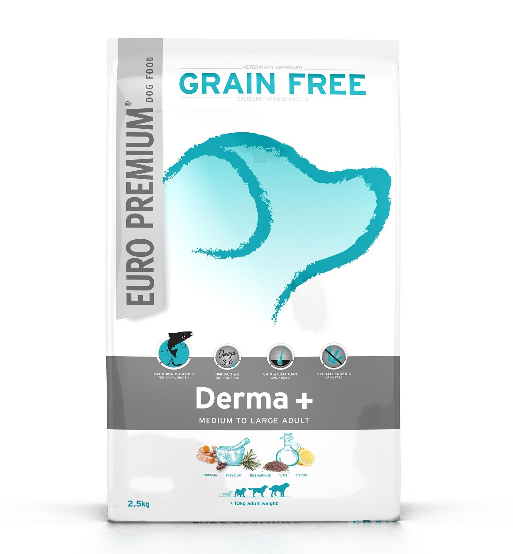 EURO-PREMIUM MEDIUM/ LARGE ADULT Derma+, 2.5 kg imagine