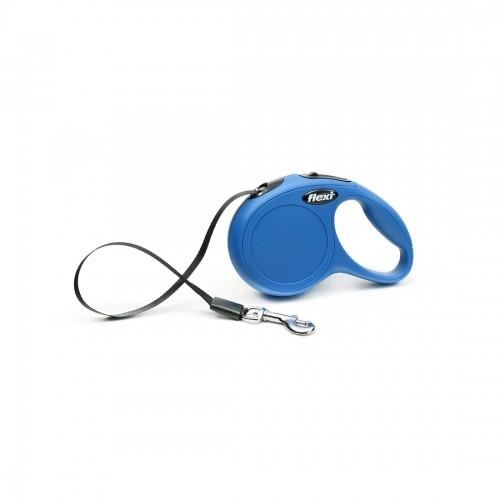 Lesa retractabila cu banda, Flexi New Classic, XS 3 m albastra imagine