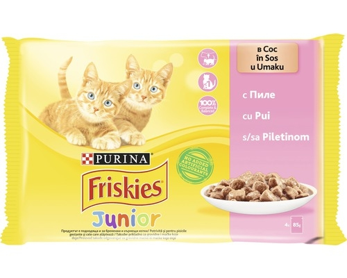 Friskies Junior Cat, Multipack Pui, 4 x 100 g imagine