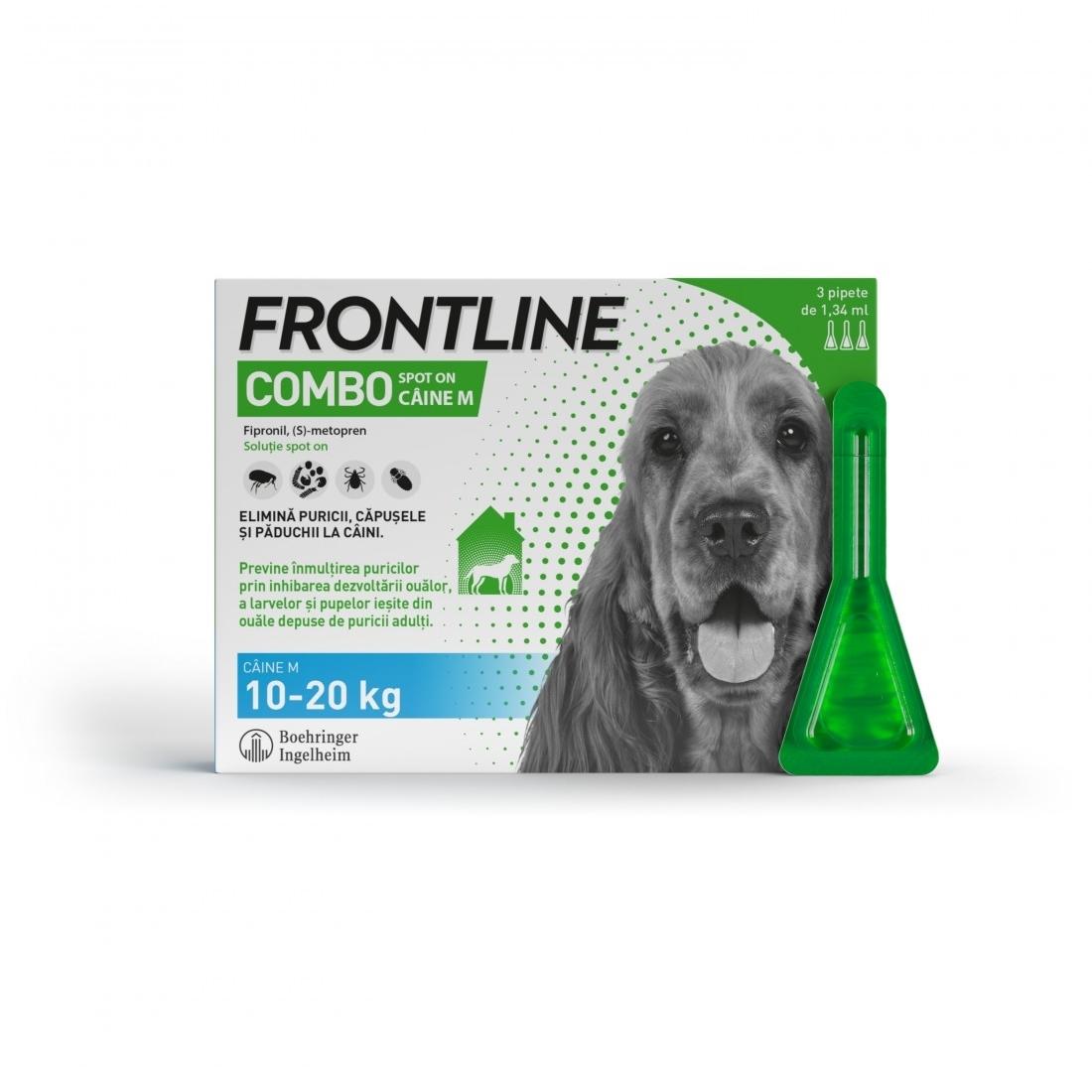 Frontline Combo M (10-20 kg) - 3 Pipete Antiparazitare imagine