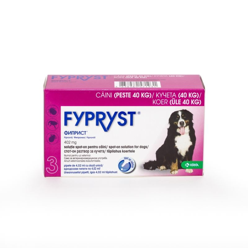 Fypryst Caine XL 402 mg (40 - 60 kg), 3 pipete imagine