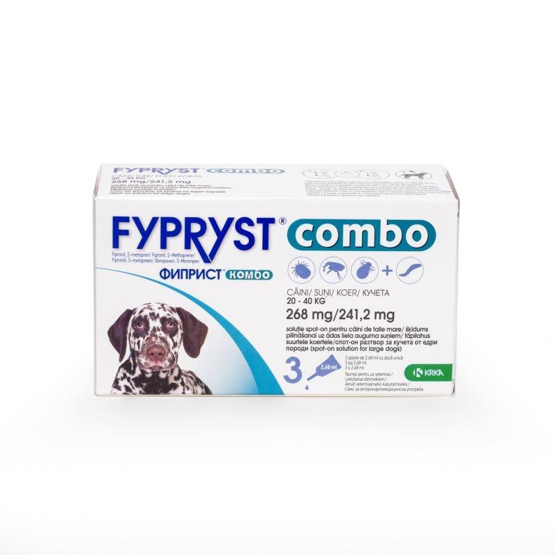 Fypryst Combo Dog L 268 mg (20 - 40 kg), 3 pipete imagine