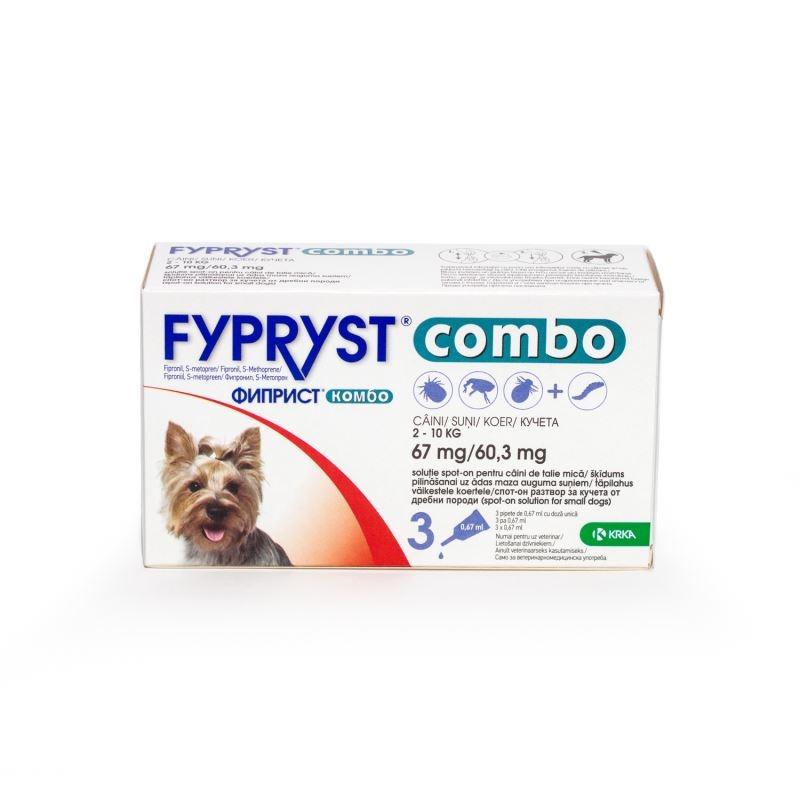 Fypryst Combo Dog S 67 mg (2 - 10 kg), 3 pipete imagine