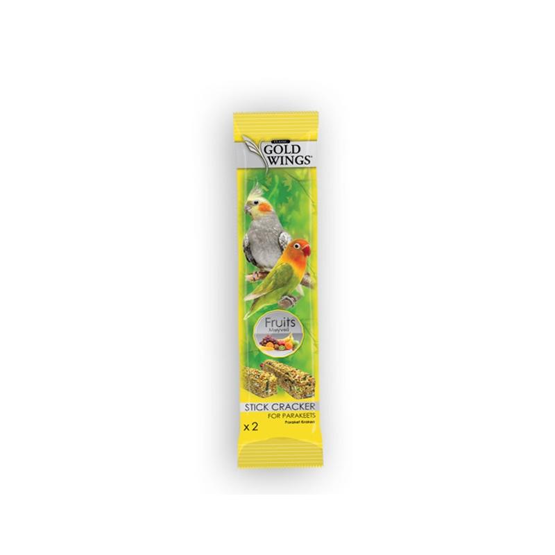 Baton cu fructe pentru nimfe si agapornis, Gold Wings Classic Parakeet Fruit Duo Stick, 2x40 g imagine