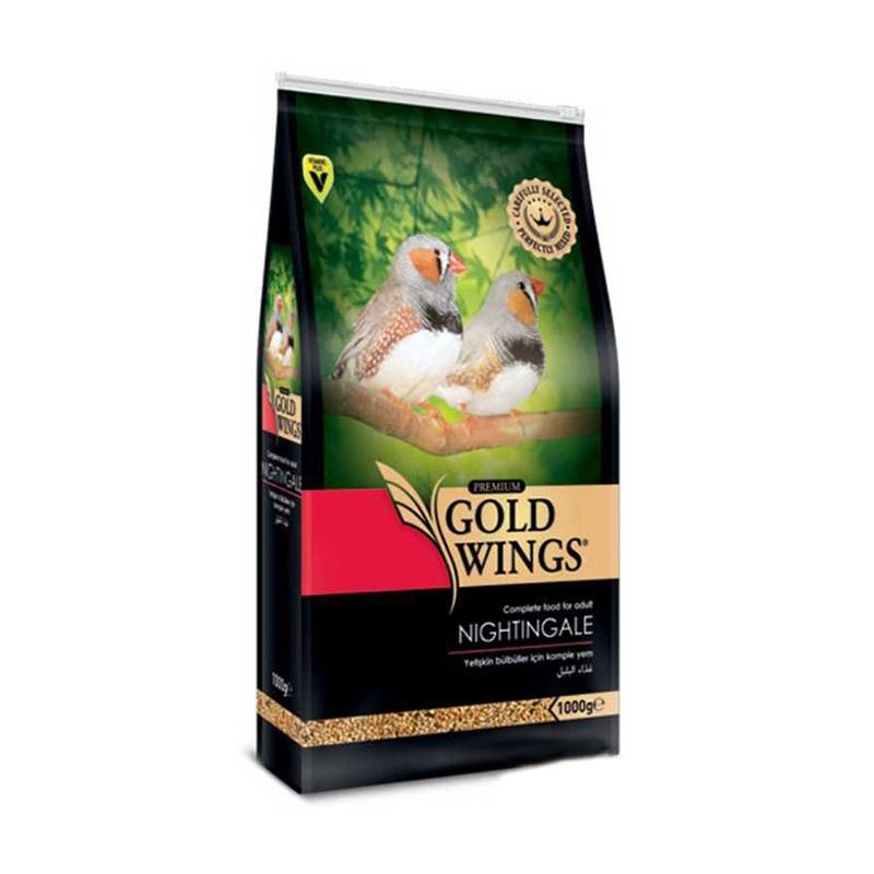 Mancare completa Premium pentru pasari exotice, Gold Wings Premium Nightingale/ Exotice, 1 kg imagine