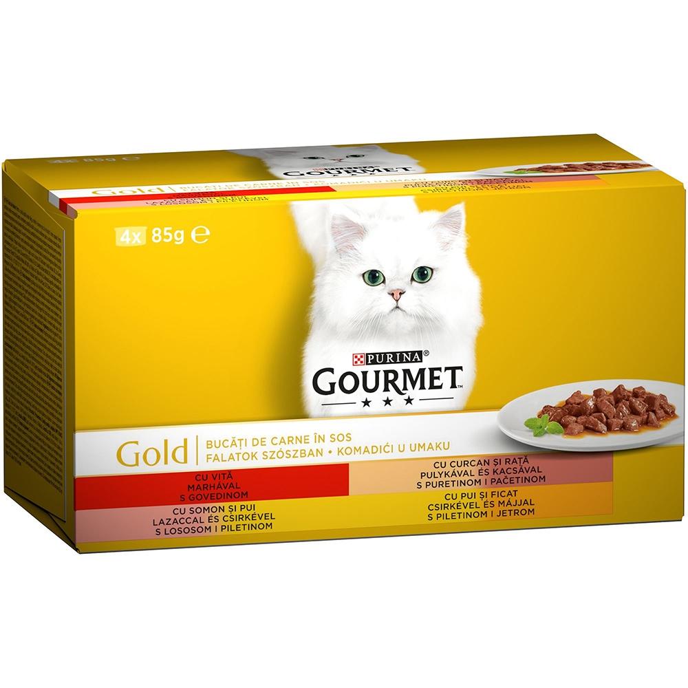Gourmet Gold Bucatele de Carne in Sos Multipack, 4 x 85 g imagine