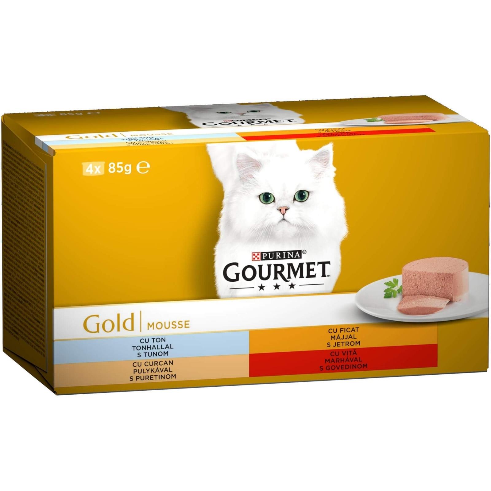 Gourmet Gold Mousse Vita, Curcan, Ficat si Ton, 4 x 85 g imagine